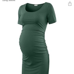 Short sleeve green, mid length maternity dress, M